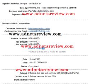 Infolinks Payment Proof